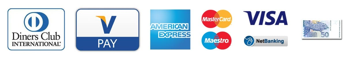 Diners, Vpay, American express, Mastercard, Maestro, Visa, bonifico